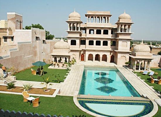 castle mandawa hotel mandawa pool view
