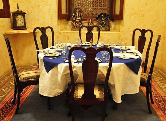 Dining Area at Raj Niwas Palace Dholpur, Rajasthan
