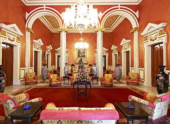 Hall at Raj Niwas Palace Dholpur, Rajasthan