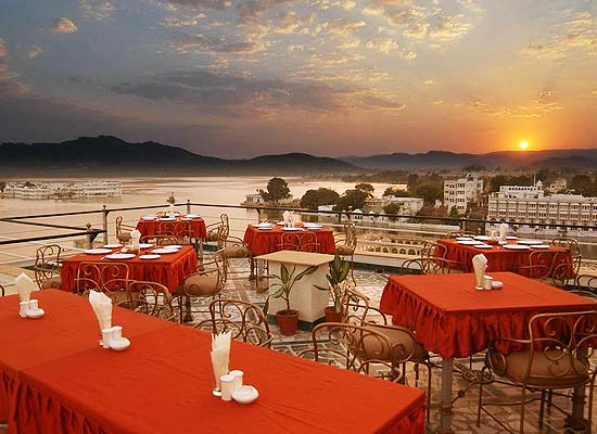 Mewar Haveli udaipur dining area with lake view
