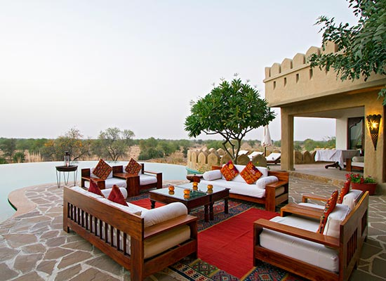 Mihir Garh jodhpur dining area with lake view