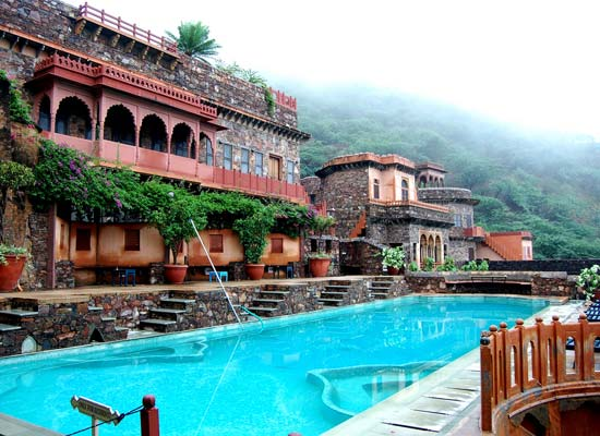 Neemrana Fort Palace alwar poolside