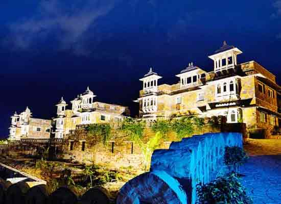 Outside night View of The Amargarh Resort Udaipur