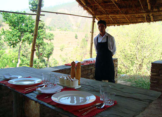 Dining at Itmenaan Estate Almora